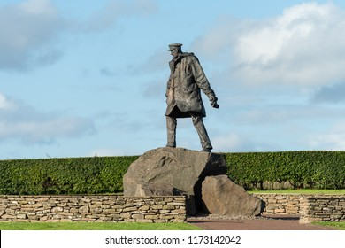 DOUNE, SCOTLAND - AUGUST 23, 2018: Memorial statue of Colonel Sir David Stirling, British Army officer, and the founder of the Special Air Service (S.A.S.) near Doune in  Scotland, UK