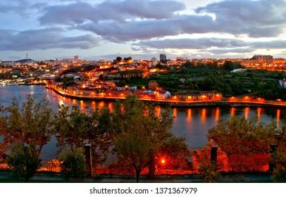 Douro river night view in Porto, Portugal