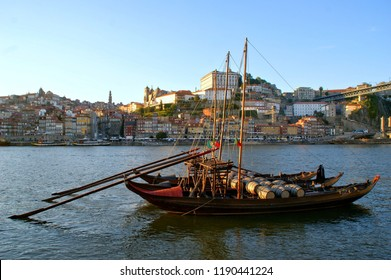 Douro river and traditional boats in Oporto, Portugal