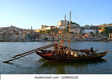 Douro river and traditional boats in Oporto, Portugal