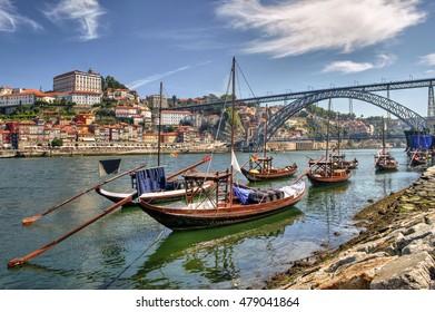 Douro river and traditional boats in Porto, Portugal
