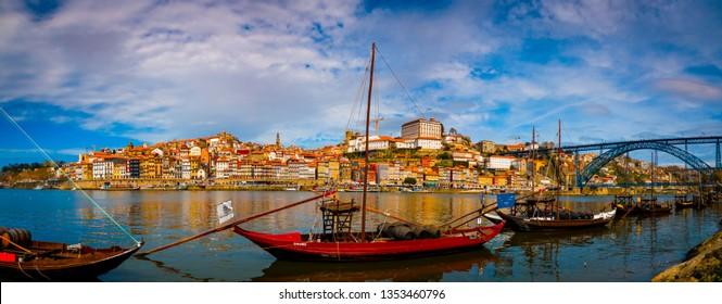 douro rover with wine boats in the tourist city of porto, oporto in Portugal, in the European Union