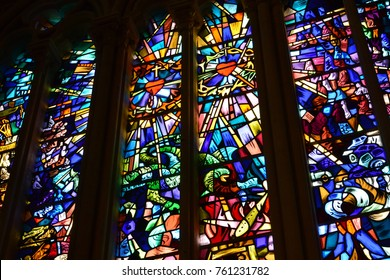 Douvres la Delivrande; France - july 17 2017 : the historical Notre Dame basilica stained glass window