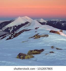 Dovbushanka mountain before a sunrise. Carpathians, Ukraine