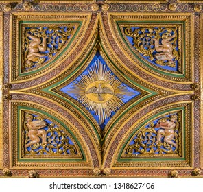 Dove of the Holy Spirit carved in the vault of the Church of San Girolamo della Carità in Rome, Italy. March-24-2019