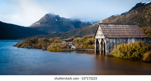 Dove Lake boatshed on an early winter morning in Cradle Mountain, Tasmania, Australia