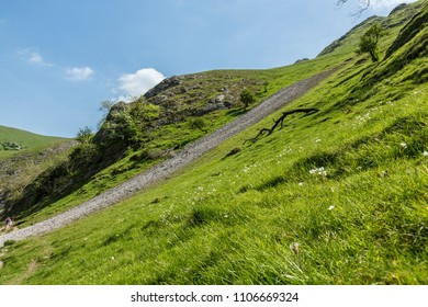 Dovedale derbyshire England. May 20 2018. Hillside rock fall.