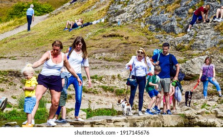 Dovedale,England-06.06.2019: People in the Dovedale valley, UK