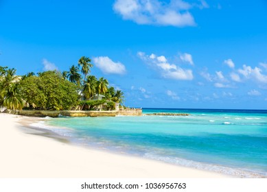 Dover Beach - tropical beach on the Caribbean island of Barbados. It is a paradise destination with a white sand beach and turquoiuse sea.