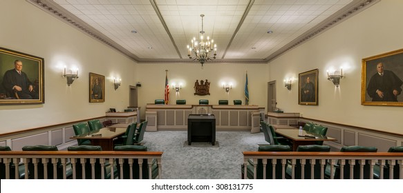 DOVER, DELAWARE - JULY 20: Delaware Supreme Court chamber on The Green on July 20, 2015 in Dover, Delaware