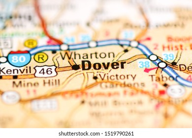 Dover. New Jersey. USA on a geography map