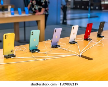 Dover, New Jersey USA - September 20th 2019: Release of the new iPhone 11 and 11 Pro (Max), visiting an Apple Store in the USA, view of the difference colors on the back of the phones.