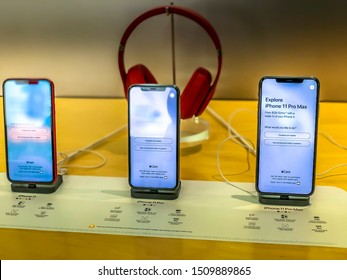 Dover, New Jersey USA - September 20th 2019: Release of the new iPhone 11 as well as iPhone 11 Pro (Max), visiting an Apple Store in the USA, viewing the different models with different displays.