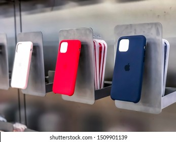 Dover, New Jersey USA - September 20th 2019: Release of the new iPhone 11 as well as iPhone 11 Pro (Max), visiting an Apple Store in USA, viewing the new leather and silicon covers for the iPhones.