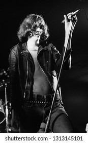 Dover, NJ/USA - January 9, 1978: Joey Ramone, lead singer for The Ramones, performs at a small club in Dover, NJ