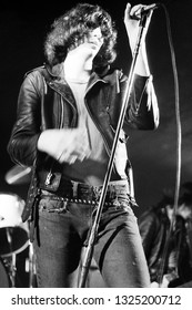 Dover, NJ/USA - January 9, 1978: Singer Joey Ramone of legendary punk rock band The Ramones performs at a small venue in Dover, NJ
