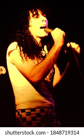 Dover, NJ/USA - January 9, 1978: Rare photo of Paul Zone, singer for the New Wave band The Fast, performing at a small club in Dover, New Jersey.