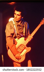 Dover, NJ/USA - January 9, 1978: Rare photo of the late Miki Zone, guitarist for the New Wave band The Fast, performing at a small club in Dover, New Jersey.