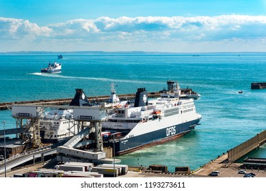 DOVER, UK - 25SEP2018: DFDS Ferry, Delft Seaways at dock with Calais Seaways behind. P&O Ferry Pride of Canterbury is in the distance having sailed for Calais.