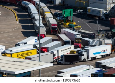DOVER, UK - 25SEP2018: Lorries queue at the Port of Dover.