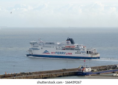 DOVER; UK - DEC 8: My Ferry Link MS Rodin leaving Dover, UK on Dec 8, 2013.  The ships are owned by Eurotunnel and leased to a workers cooperative which operates the services.