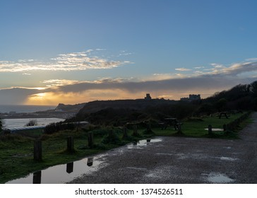 Dover, UK - December 18 2018:  Dover castle photographed during a rainy evening.