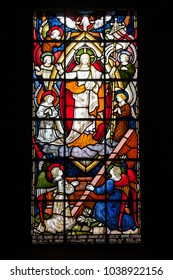 DOVER, UK - JUN 2, 2013: Stained glass window of Garrison Church at medieval Dover Castle