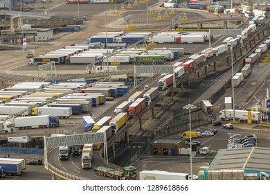 Dover, United Kingdom, 18th January 2019:- Lorries waiting to leave the Port of Dover, Kent the nearest British port to France