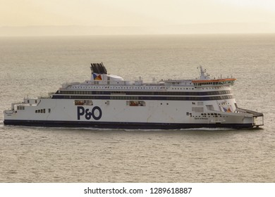 Dover, United Kingdom, 18th January 2019:- A P&O cross channel ferry arriving at the Port of Dover, Kent the nearest British port to France