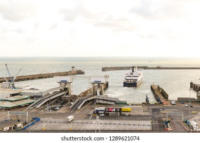 Dover, United Kingdom, 18th January 2019:- A view of the Port of Dover, Kent the nearest British port to France