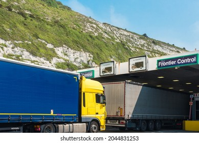 Dover, United Kingdom - July 24, 2021: Passport control at Dover Ferry terminal, with lorries in line waiting.