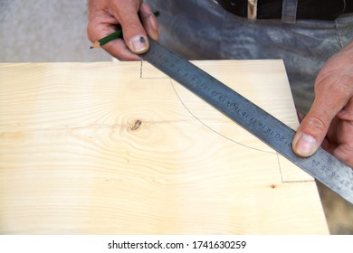 Dovetail joint. marking a wood beam on work table on construction site.  Preparation for cutting with a saw. Wooden beams spruce for outdoor construction, wood beams for carport. woodwork concept.