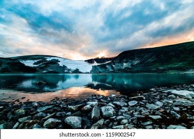 Snøhetta in dovre national park during sunset