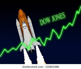 Dow Jones index chart up US stock exchange. Elements of this image furnished by NASA.