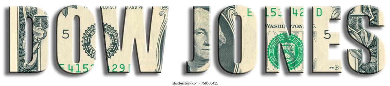 Dow Jones Industrial Average, american stock index. US Dollar texture.