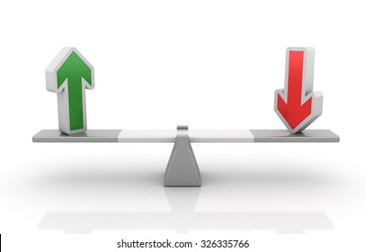 Up and Down Arrows Balancing on a Seesaw - Balance Concept - High Quality 3D Render