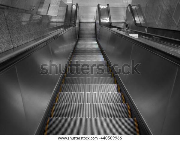 down escalator view