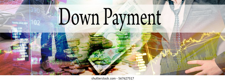 Down Payment - Hand writing word to represent the meaning of financial word as concept. A word Down Payment is a part of Investment&Wealth management in stock photo.