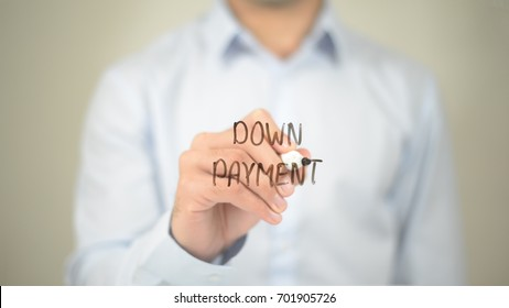 Down Payment, Man writing on transparent screen