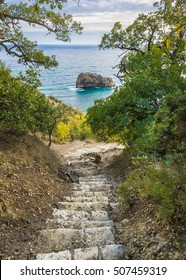 Down to the sea. Stairway to Jasper beach at cape Fiolent. Black Sea. Crimea
