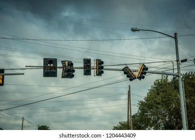 Down Street Lights after Hurricane Michael