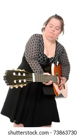 down syndrome woman with guitar