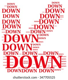 down text collage Composed in the shape of Arrow