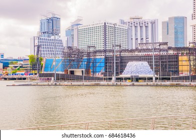 Down Town Architecture Building at Marian Bay, in Singapore - June 16, 2017 : Boat Building, Building Business District City Architecture Office  Down Town  in Singapore.