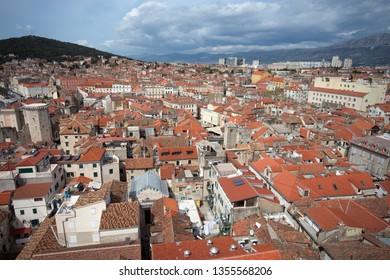 Down town of orange roof the landmark Split Croatia