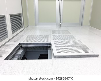 Down to under raised floor at Clean room