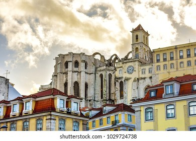 Down view of the Chiado cathedral and some iconic historical buildings of downtown Lisbon. Taken from the Rossio Square.