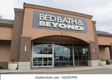 Downey, CA, USA - May 8, 2016: Bed Bath & Beyond is a chain of domestic merchandise retail stores selling goods for bedroom, bathroom, kitchen and dining room in USA, Puerto Rico, Canada and Mexico.
