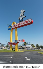 Downey, California - May 28, 2018: The ad pylon of McDonald's in Downey, California. It is the oldest operating McDonald's restaurant opened in 1953.