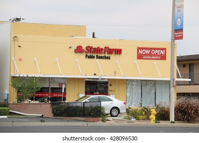 Downey, California, USA - May 9, 2016: State Farm is an American group of insurance and financial services companies in the United States.